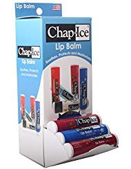 Gravity Feed Display - Chap Ice Assorted Lip Balm - Gravity Feed Display - Moisture SPF-15, Cherry SPF-4 (24 count)