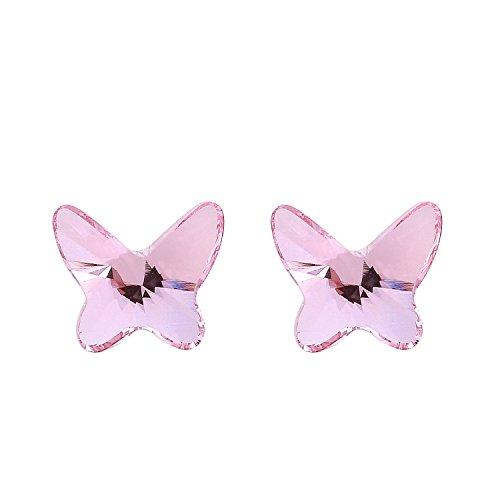 The Starry Night Pink Austrian Crystal Small and Delicate Butterfly Girl Beauty Stud Silver - Nectar Replacement Card
