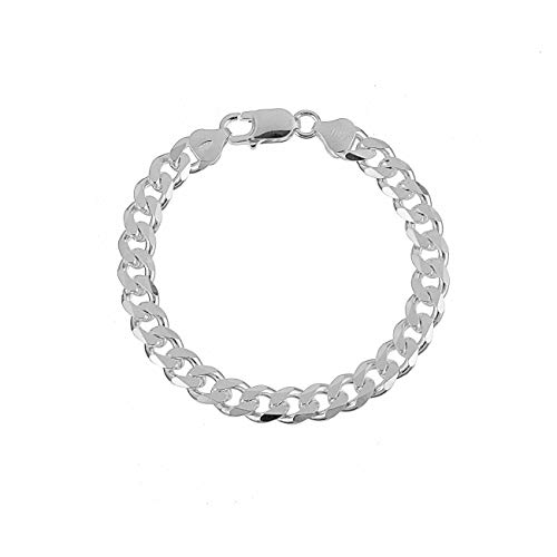 KEZEF Creations 7.5mm 925 Sterling Silver Cuban Curb Link Chain Bracelet 7 inch