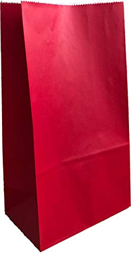 Party Favor Bag - 50 Pack Red Kraft Paper Lunch Gift Bags for Chinese New Year, Valentine's Day, Christmas and 4th of July - 5