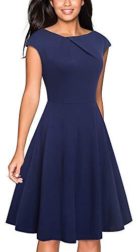 VELJIE Women's Vintage Scoop Neck Casual Party Flare Dress (Dark Blue, -