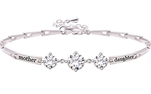 ALOV Jewelry Sterling Silver Mother Daughter Cubic Zirconia Bracelet