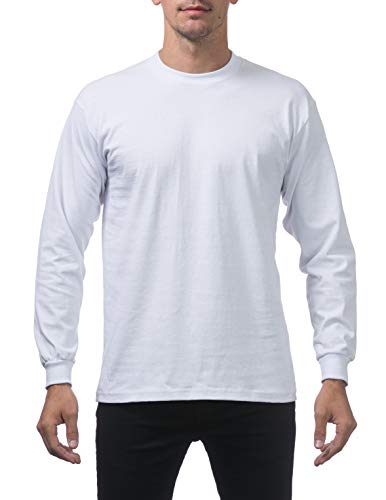 weight Cotton Long Sleeve Crew Neck T-Shirt, Medium, Snow White ()