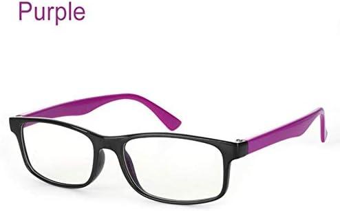 Miwaimao だてめがね レディース,1ピースブルーライトメガネアンチブルーレイ放射線ブロッキングメガネ男性女性コンピュータゴーグル抗UV UV400フラットミラー眼鏡、紫