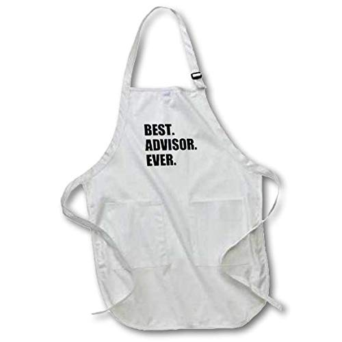 3dRose apr/_179751/_2 Best Advisor Ever-Bold Black Text-Fun Work and Job Pride Gifts-Medium Length Apron with Pouch Pockets 22 by 24-Inch