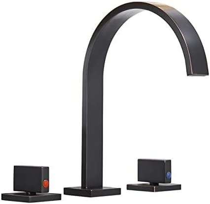 Bathlavish Oil Rubbed Bronze Bathroom Faucet Widespread 8-16 Inch Commercial Waterfall Sink Lavatory 2 Handles 3 Holes Mixer Tap Faucets Basin Supply Line
