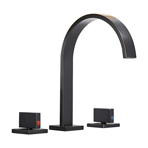 Homevacious Waterfall Bathroom Sink Faucet Widespread Oil Rubbed Bronze 8-16 Inch 3 Holes 2 Handles Black Bath Lavatory Modern Faucets Long Spout Basin Commercial Deck Mount Mixer Tap Supply Hose
