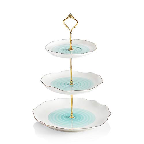Sweejar 3 Tier Ceramic Cake Stand,dessert stand,Cupcake Stand,Tea Party Pastry Serving Platter,Food Display Stand for Tea/Coffee/Birthday/Wedding/Women/Afternoon/Gift
