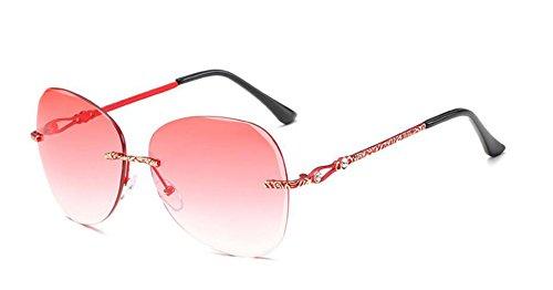 gafas Estados mar y gradient los GLSYJ sol de sol Europa sol frame Gold de gafas de moda señoras metal gafas Color cristalino powder Unidos cerco sin tendencias LSHGYJ wUYEFxqaU