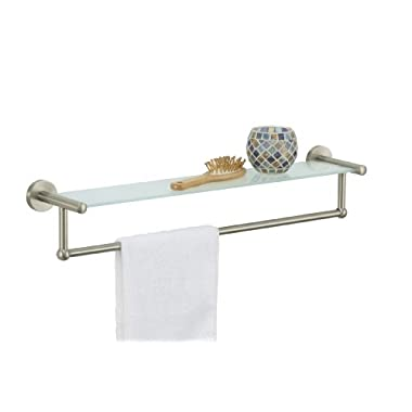 Organize It All Satin Nickel Glass Shelf with Towel Bar (16905)