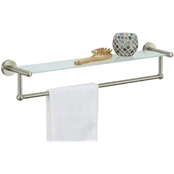 Amazon.com: Organize It All Satin Nickel Glass Shelf with Towel ...