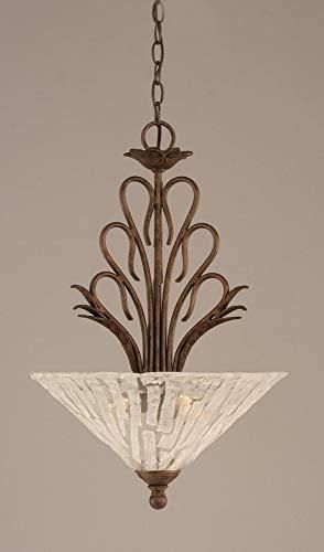 Toltec Lighting 204-BRZ-719 Swan Three-Light Uplight Pendant with Italian Ice Glass Shade, 16-Inch