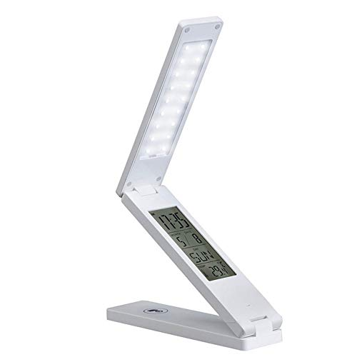 Traveler Pocket Alarm - MUTANG Dimmable LED Desk Lamp Foldable Bedroom Table Lamp Rechargeable Eye Protection Book Lamp Touch Control Night Lights (Color : White)