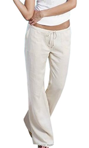KLJR-Women Casual Cotton Linen Elastic Waist Wide Leg Flared Pants