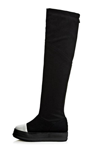Kitzen Womens Ladies Muffled Over Knee Thigh High Heel Thick Bottom Stretch Faux Leather Hollow Boots Shoes Black 0doJFJbKQq
