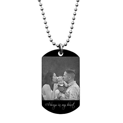 Dreambell Personalized Photo Text Engraved Stainless Steel Custom Dog Tag Pendant with Ball Chain Necklace 24''