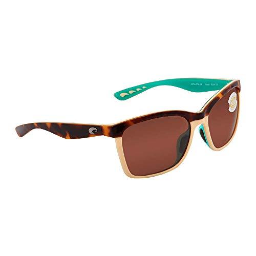 Costa Del Mar Women's Anaa Polarized Cateye Sunglasses, Retro Tortoise/Cream/Mint, 55.4 mm (Womens Costa Del Mar)