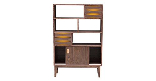 Kardiel Vodder 4-Tier Upright Cabinet with Mid-century Modern Bookcase, Walnut Wood