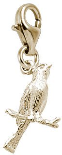 Canary Bird Charm - Rembrandt Charms Canary Charm with Lobster Clasp, 10K Yellow Gold