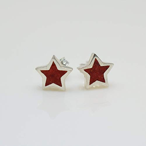 Star-shaped Coral Micro Mosaic Sterling Silver Stud Earrings, Semi Precious Gemstone by Handmade Studio HS4545