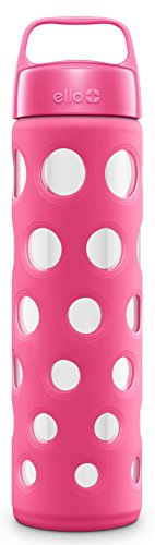Ello Pure BPA-Free Glass Water Bottle with Lid, Pink Fizz, 20 oz.