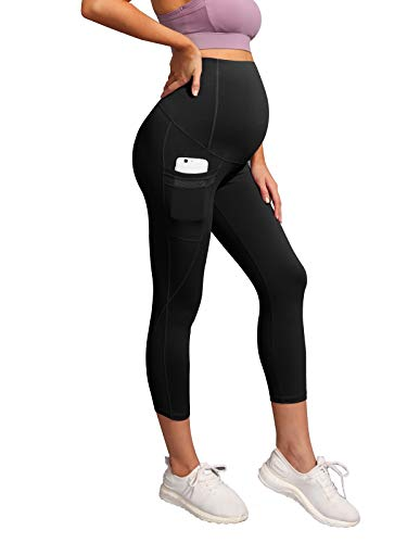 Maacie Women Maternity Over The Belly Active Lounge Mesh Capri Yoga Pants