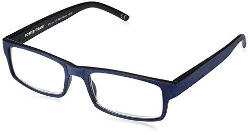 Foster Grant Men's Aiden Navy 1017894-150.COM Rectangular Reading Glasses, Navy Blue, ()