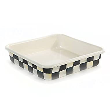 """MacKenzie-Childs Square Baking Pan – Stainless Steel Enamel Courtly Check Black and White - 8"""" Wide and Long 2"""" Deep Bakeware"""
