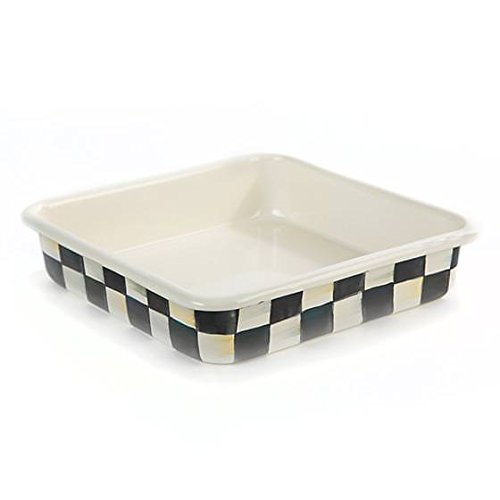 Square Baking Pan - Stainless Steel Enamel Courtly Check Black and White - 8'' Wide and Long 2'' Deep Bakeware by MacKenzie-Childs by MacKenzie-Childs (Image #4)