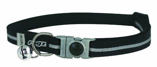 Rogz Catz Small 3/8-Inch Alley Cat Safeloc Breakaway Clip Adjustable, Reflective Cat Collar, Black Design, My Pet Supplies
