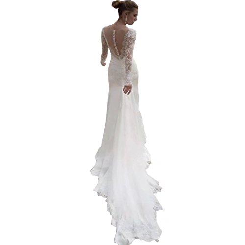 Chady Long Sleeve Mermaid Wedding Dresses Lace Scoop Neck Sweep Train Beach Wedding Dress Bridal Gowns Ivory ()