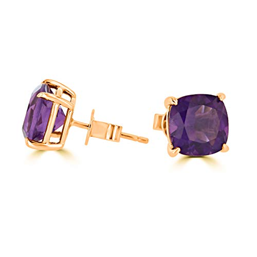 14K White, Yellow, or Rose Gold Natural Amethyst Stud Earrings for Women ()