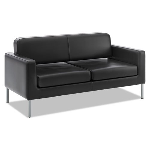 "HON Corral Leather Sofa - Two-Cushion Guest Couch for Office Space, 28""D by 67""W by 30.5"" H, Black (HVL888)"