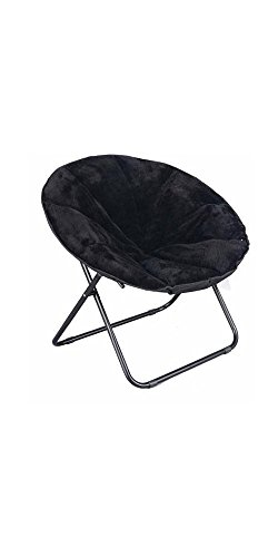 Mainstay Comfortable Faux Fur Plush Folding Saucer Chair (Black) by Mainstay