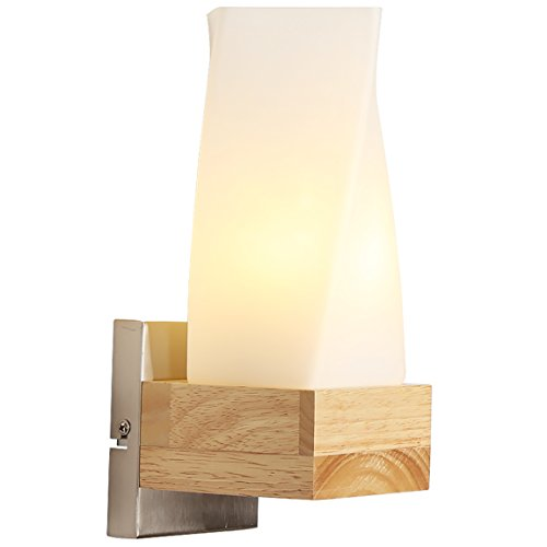 505 HZB Creative Solid Wood Bedroom Bedside Lamp Modern Fashion Nordic Living Room Wall Lamp ()
