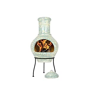 La Hacienda Lumbre Clay Chimenea Large Blue Aqua