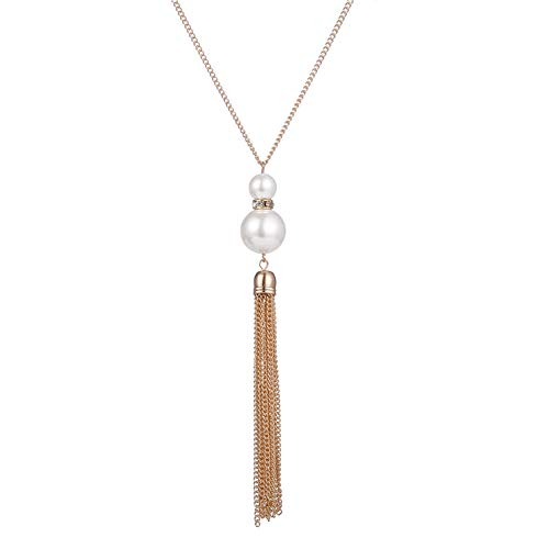 Long Tassel Pendant Necklaces for Women - Faux Pearl Necklace with Silver Chain, Fashion Jewelry for Lady (Gold 2)