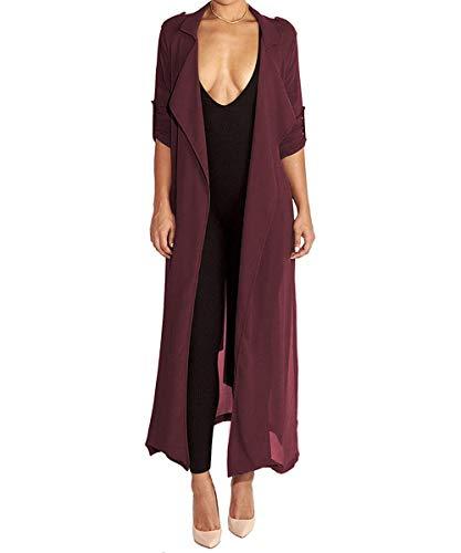 (Begonia.K Women's Long Sleeve Chiffon Lightweight Maxi Sheer Duster Cardigan (Medium, Wine Red))