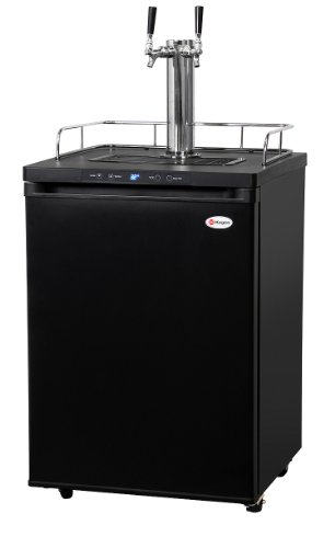 Kegco Full-Size Digital Homebrew Kegerator Dual Faucet Ball Lock Keg Dispenser Black