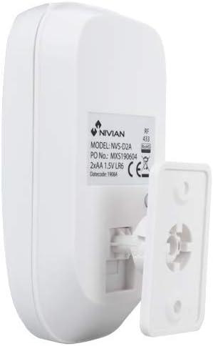 Compatible con Panel de Alarma Nivian Smart Detector de movimiento inal/ámbrico para interior Nivian Smart NVS-D2A Inmune a Mascotas 20Kg