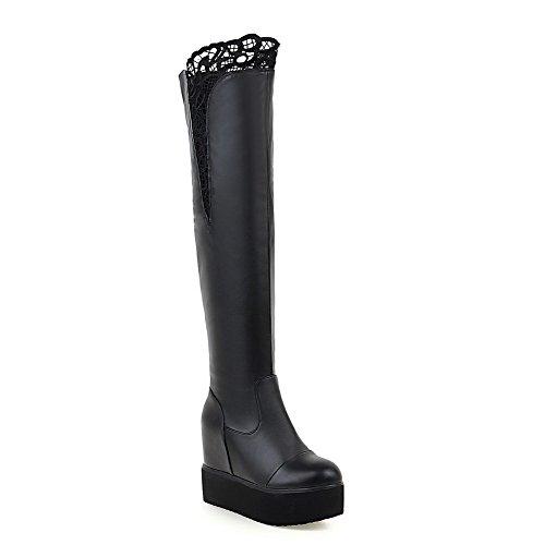 VogueZone009 Damen Ziehen auf Hoher Absatz PU Leder Lesbie Hoch-Spitze Stiefel, Weiß, 37