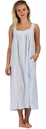 The 1 for U Nightgown 100% Cotton Sleeveless + Pockets Meghan (XXL, Blue)
