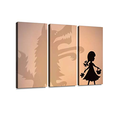 (Little Red Riding Hood and Big Bad Wolf's Shadow 3 Pieces Print On Canvas Wall Artwork Modern Photography Home Decor Unique Pattern Stretched and Framed 3 Piece)