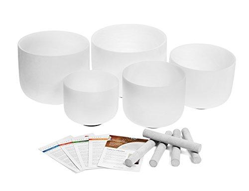 Set of 5 Crystal Singing Bowls - Crown Chakra, Third Eye Chakra, Throat Chakra, Solar Plexus and Heart Chakra Bowls (8 inch - 12 inch)