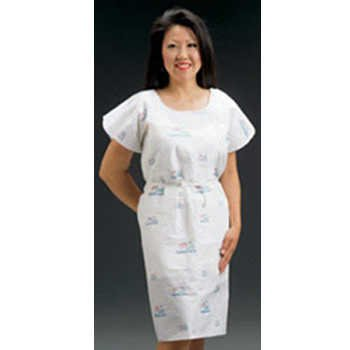 Graham Medical 271 Seascape Tissue/Poly/Tissue Printed Gown, 30'' Width, 42'' Length (Pack of 50)