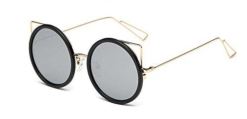 rond polarisées lunettes Blanc inspirées cercle vintage de métallique Mercure retro en soleil du style Lennon BBq7EHW