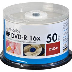UPC 637668040644, HP DVD Lightscribe Recordable Media - DVD-R - 16x - 4.70 GB - 50 Pack Cake Box (4064)