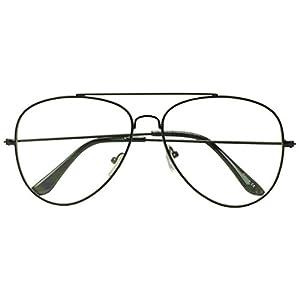 Sunglass Stop - Original Black Round Tear Drop Aviator Glasses with Clear Uv400 Lens (Black , 60)