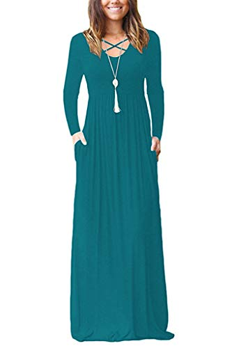 (LILBETTER Women Long Sleeve Loose Plain Maxi Dresses Casual Long Dresses with Pockets (L, Acid Blue))