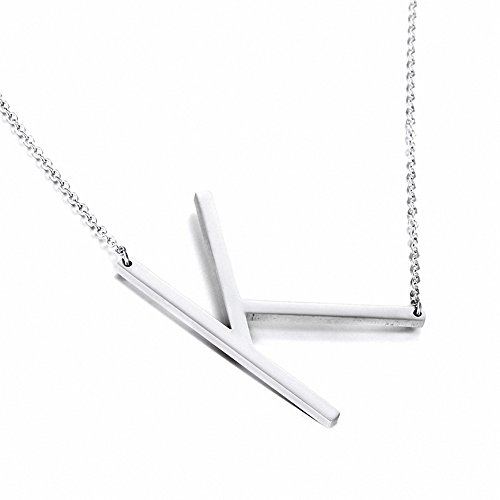 Jwoolw Stainless Steel Silver Sideways Big Initial Alphabet 26 Letters Name Pendant Chain Necklace From A-Z for Girls (Style K)
